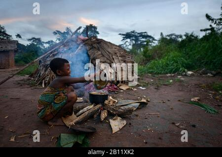 The life of the Bayaka Pygmies in the equatorial rainforest, Central African Republic, Africa - Stock Photo