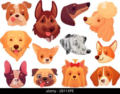 Cute dog face. Puppy pets, dogs animals breed and puppies heads vector illustration set - Stock Photo