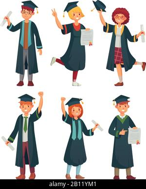 Graduates students. College student in graduation gowns, educated university graduating man and woman characters cartoon vector set - Stock Photo