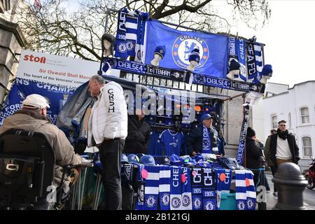 London, UK. 22nd Feb, 2020. Merchandise shop during the Premier League match between Chelsea and Tottenham Hotspur at Stamford Bridge, London on Saturday 22nd February 2020. (Credit: Ivan Yordanov | MI News)Photograph may only be used for newspaper and/or magazine editorial purposes, license required for commercial use Credit: MI News & Sport /Alamy Live News - Stock Photo