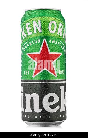 Ukraine, Kiev - February 10. 2020: Aluminium can of Heineken Lage beer on white background. Heineken is the flagship product of Heineken International - Stock Photo