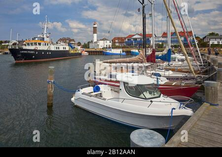 Harbor in Timmendorf with lighthouse, island Poel, Mecklenburg-Vorpommern, Germany - Stock Photo