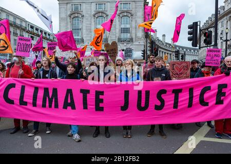 London, UK. 22nd Feb, 2020. Extinction Rebellion groups assemble in Russell Square before marching to Parliament Square to demand the right to protest peacefully. Penelope Barritt/Alamy Live News - Stock Photo