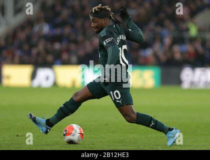 London, UK. 22nd Feb, 2020. Allan Saint-Maximin of Newcastle United in action during the Premier League match between Crystal Palace and Newcastle United at Selhurst Park, London on Saturday 22nd February 2020. (Credit: Jacques Feeney | MI News) Photograph may only be used for newspaper and/or magazine editorial purposes, license required for commercial use Credit: MI News & Sport /Alamy Live News - Stock Photo