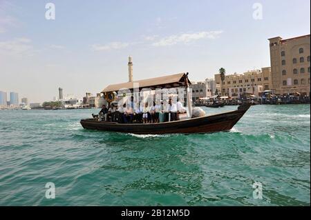 Water taxi, Abra, dhow on Dubai Creek, Dubai, United Arab Emirates, Middle East - Stock Photo