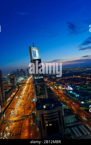 Evening at the Persian Gulf,traffic,city,downtown Dubai,Dubai,United Arab Emirates,Middle East - Stock Photo