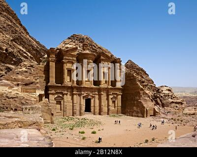 Rock grave ad-Deir or Monastery at Petra,Jordan,Middle East - Stock Photo