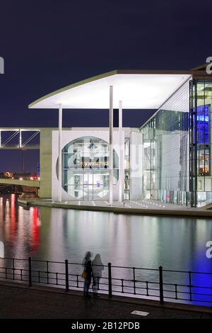 Tourists at night,Marie-Elisabeth-Lueders-Haus,Spree shipbuilding dam riverside,government district,Festival of lights,Berlin,Germany,Europe - Stock Photo