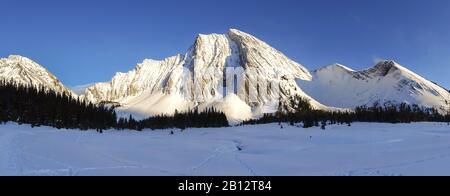 Wide Panoramic Winter Landscape Snow Covered Alpine Meadow Distant Snowcapped Mountain Peaks on Horizon. Kananaskis Country, Canadian Rockies, Alberta - Stock Photo