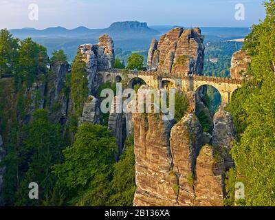 The Bastion near Rathen,Saxon Switzerland,Saxony,Germany - Stock Photo
