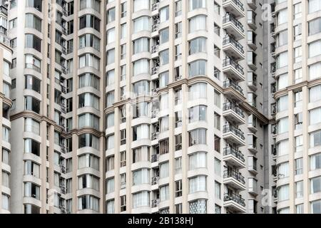 Facade,apartment building,Old Town Puxi,Shanghai,China - Stock Photo