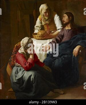 Christ in the House of Martha and Mary (1655) by Johannes Vermeer, 17th Century Dutch Baroque Period Painting (Christ in the House of Mary and Martha) - Stock Photo