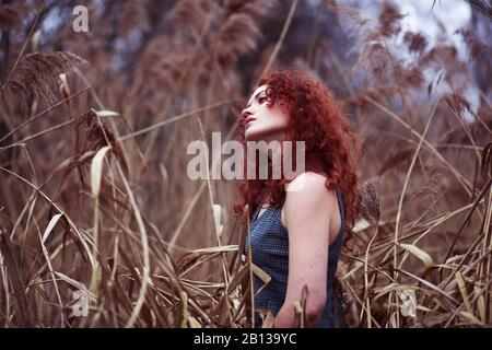 Woman with long red hair standing in the reeds,portrait - Stock Photo