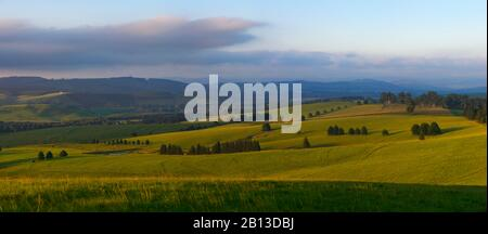 The fields and hills of Midlands Meander,Kwazulu Natal,South Africa - Stock Photo