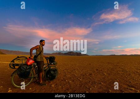 Cycling in the Namib desert,Namibia,Africa