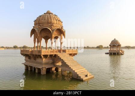 Gadisar Lake,Gadi Sagar,Jaisalmer,Rajasthan,India - Stock Photo