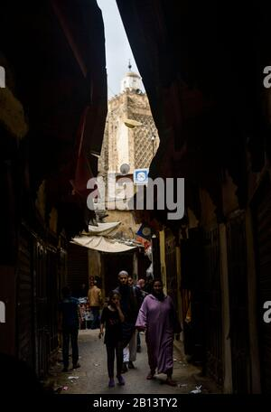 Streets and alleys of the Medina,Fes,Morocco - Stock Photo