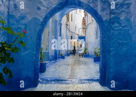 Streets and alleys of the Medina of Chefchaouen,Morocco - Stock Photo