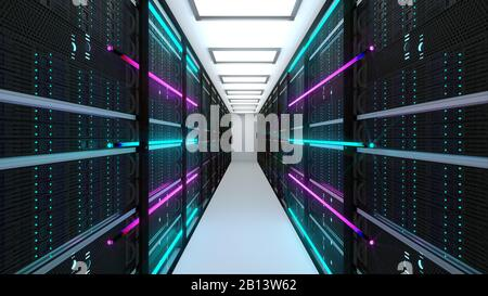 Modern server room interior in datacenter, web network and internet telecommunication technology, big data storage and cloud service concept, 3d - Stock Photo