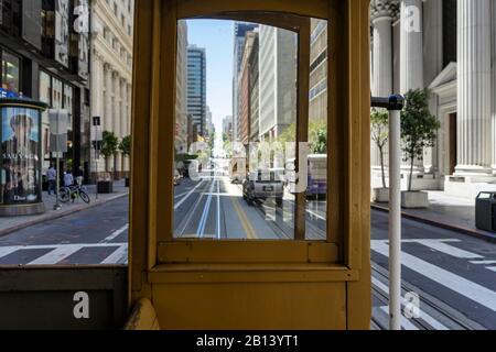 Gaze out the window,Historic CABLE CAR,Downtown,San Francisco,California,USA - Stock Photo