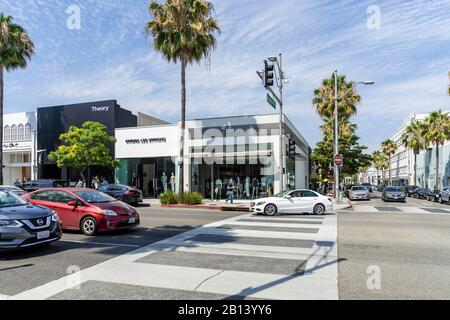 Luxury shopping around Rodeo Drive,Beverly Hills,Los Angeles,California,USA - Stock Photo