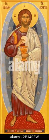 RAVENNA, ITALY - JANUARY 28, 2020: The icon of Jesus Christ the Priest from the chruch Chiesa di Santa Maria Maddalena. - Stock Photo