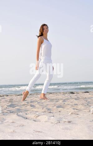 Young woman, 24, at the beach, Niendorf, Baltic Sea, Schleswig-Holstein, Germany, Europe