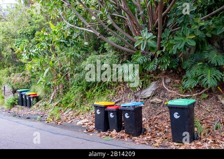 Australian household bin collection, green vegetation, red general waste, blue paper and cardboard, yellow for plastics and glass, Sydney,Australia - Stock Photo
