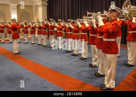 "Members of ""The Commandant's Own"" the U.S. Marine Drum & Bugle Corps perform musical ballads during an Indoor ceremony at Marine Barracks Washington D.C., June 16, 2017. The guest of honor for the ceremony was GySgt. Forest Spencer, ret., and the hosting official was Lt. Gen. Ronald Bailey, deputy commandant, Plans, Policies, and Operations. (Official U.S. Marine Corps photo by Cpl. Robert Knapp/Released) - Stock Photo"