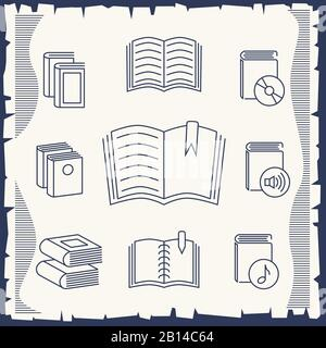 Thin line book collection on vintage background. Collection of books drawing, vector illustration - Stock Photo