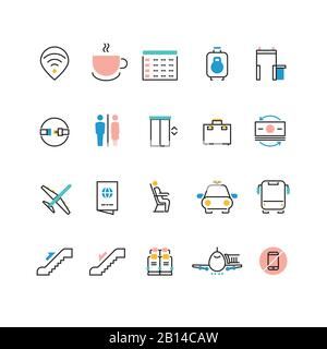 Airoport icons with line and colorful elements. Airport and airplane pictogram icons set luggage and taxi illustration - Stock Photo