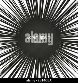 White radial speed lines chalkboard backdrop. Action explosion background. Vector illustration - Stock Photo