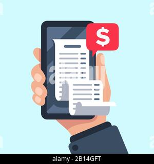 Smartphone receipt bill. Billing check online, bills checking and paycheck receipts mobile notification flat vector illustration - Stock Photo