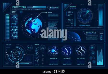 Futuristic hud interface. Future hologram ui infographic, interactive globe and cyber sky fi screen vector background illustration - Stock Photo