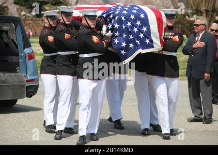 U.S. Marines with Marine Barracks Washington D.C., support a full honors funeral for retired Marine Lt. Col. Howard V. Lee, Medal of Honor recipient, at Colonial Grove Memorial Park, Virginia Beach, Virginia, March 30, 2019. Lee received the Medal of Honor for his actions during the Vietnam War in August 1966. While on an operation deep in enemy territory, Lee's platoon was attacked and surrounded by a large Vietnamese force. Realizing his unit suffered numerous casualties and fully aware the platoon remained under heavy attack, Lee took seven men and proceeded by helicopter to provide reinfor