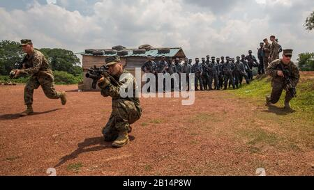 U.S. Marines with Company B, Battalion Landing Team 1st Battalion, 4th Marine Regiment, 11th Marine Expeditionary Unit (MEU), demonstrate bounding toward an objective as a squad during a military tactics training and exchange at Welisara Naval Base, Sri Lanka, as part of a theater security cooperation engagement March 29, 2017. The 11th MEU and USS Comstock (LSD 45) are in Sri Lanka to exchange expertise on a variety of topics as part of ongoing exchanges between the two forces to enhance skill sets and strengthen relations. (U.S. Marine Corps photo by Cpl. Devan K. Gowans)