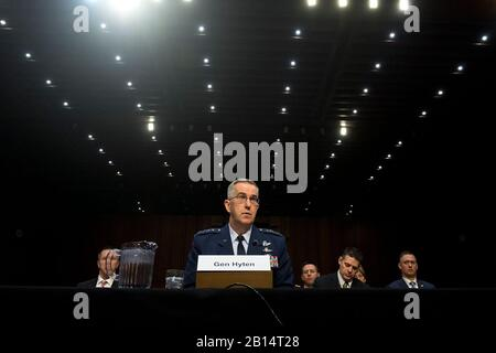 Air Force Gen. John E. Hyten, commander of U.S. Strategic Command, testifies for the Senate Armed Services Committee in Washington, D.C. March 20, 2018. (DoD photo by EJ Hersom) - Stock Photo