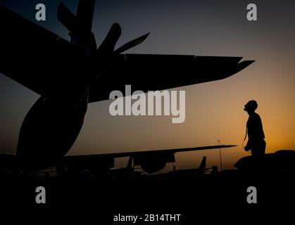 A U.S. Air Force KC-135 Stratotanker maintainer, assigned to the 340th Aircraft Maintenance Unit, inspects the aircraft's boom before a flight in support of Operation Inherent Resolve at Al Udeid Air Base, Qatar, June 6, 2017. The KC-135 provides aerial refueling capabilities as it supports U.S. and coalition forces as they work to liberate territory and people under the control of ISIS. (U.S. Air Force photo by Staff Sgt. Michael Battles) - Stock Photo