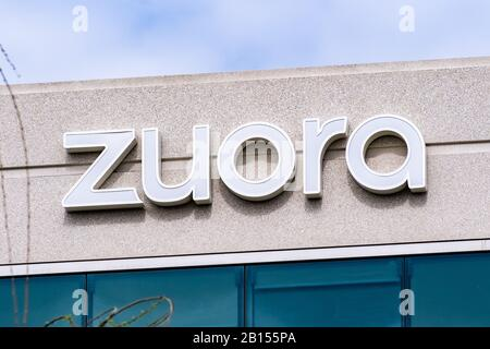 Feb 21, 2020 Redwood City / CA / USA - Zuora sign at their new headquarters in Silicon Valley; Zuora's software is designed to automate various busine - Stock Photo
