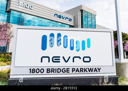 Feb 21, 2020 Redwood City / CA / USA - Nevro sign at their headquarters in Silicon Valley; Nevro Corp. is a medical device company that provides produ - Stock Photo