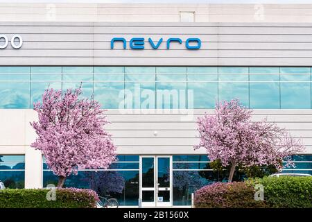 Feb 21, 2020 Redwood City / CA / USA - Nevro Corp. headquarters in Silicon Valley; Nevro Corp. is a medical device company that provides products for - Stock Photo