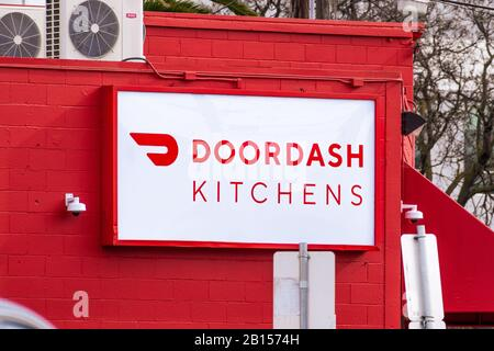 Feb 21, 2020 Redwood City / CA / USA - DoorDash Kitchens location; DoorDash Kitchens follows the ghost-kitchen model by providing shared space to rest - Stock Photo