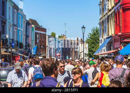 london, UK - June 30, 2018: Portobello Road Market, the world's largest antiques market selling every kind of antique and collectible - Stock Photo