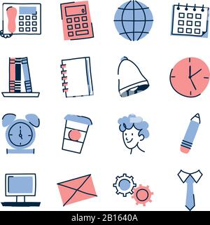 doodle line fill style icon set design, Ornament sketch art drawing cute idea creative and decorative theme Vector illustration - Stock Photo
