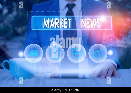 Text sign showing Market News. Business photo showcasing Commercial Notice Trade Report Market Update Corporate Insight - Stock Photo