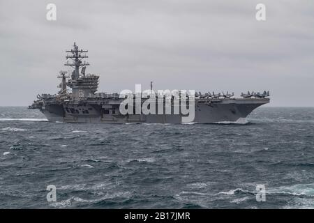 200131-N-OQ778-1039 ATLANTIC OCEAN (Jan. 31, 2019) The Nimitz-class aircraft carrier USS Dwight D. Eisenhower (CVN 69) transits the Atlantic Ocean). Eisenhower is conducting operations in the Atlantic Ocean as part of Carrier Strike Group 10. (U.S. Navy photo by Mass Communication Specialist 3rd Class Kody A. Phillips/Released) - Stock Photo