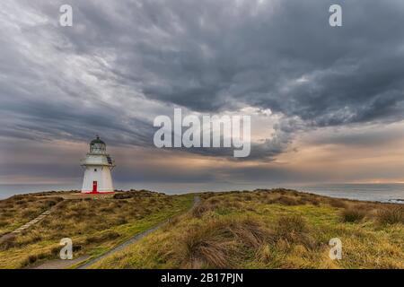New Zealand, Oceania, South Island, Southland, Otara, Waipapa Point Lighthouse at sunset