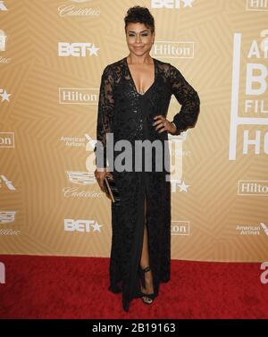 Gillian Iliana White arrives at the American Black Film Festival Honors Awards Ceremony held at the Beverly Hilton in Beverly Hills, CA on Sunday, ?February 23, 2020.  (Photo By Sthanlee B. Mirador/Sipa USA) - Stock Photo