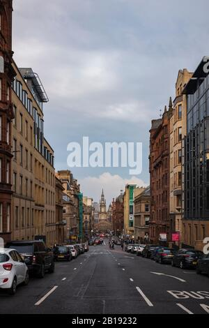 Glasgow, Scotland/UK, June 29, 2019: The street-level view from W. George Street towards St. George's Tron Church, the Church of Scotland, located in - Stock Photo