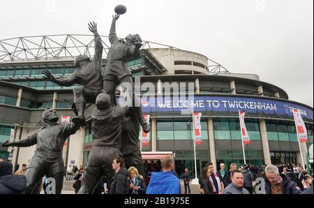 London, UK. 23rd Feb, 2020. Twickenham Surrey 23rd February 2020 Guinness Six Nations International Rugby England Vs Ireland at RFU Twickenham Stadium UK Playes sculpture outside the ground Credit: Leo Mason sports/Alamy Live News - Stock Photo